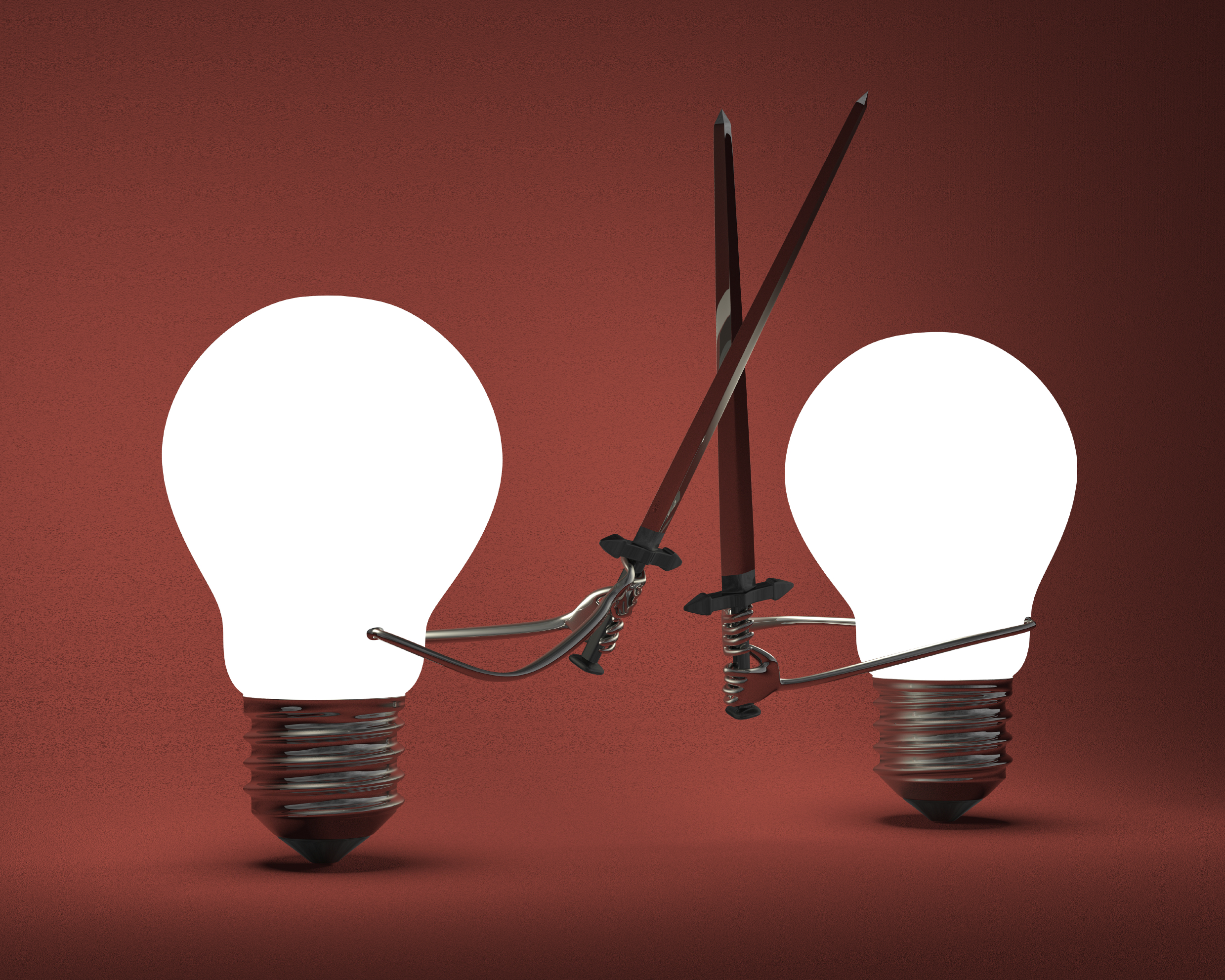 Glowing light bulbs fighting with greatswords on red