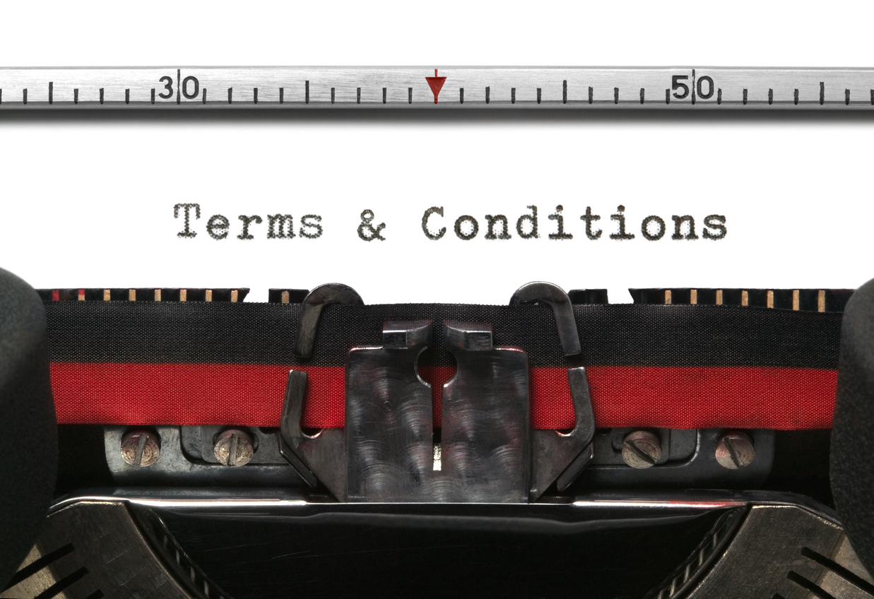 Terms and conditions written with a typewriter